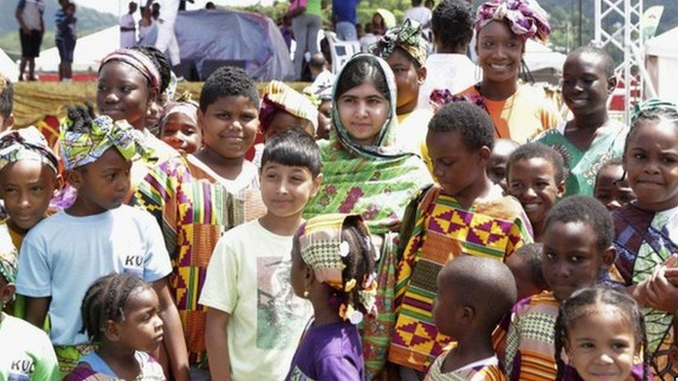 Pakistani schoolgirl activist Malala Yousafzai in Port of Spain