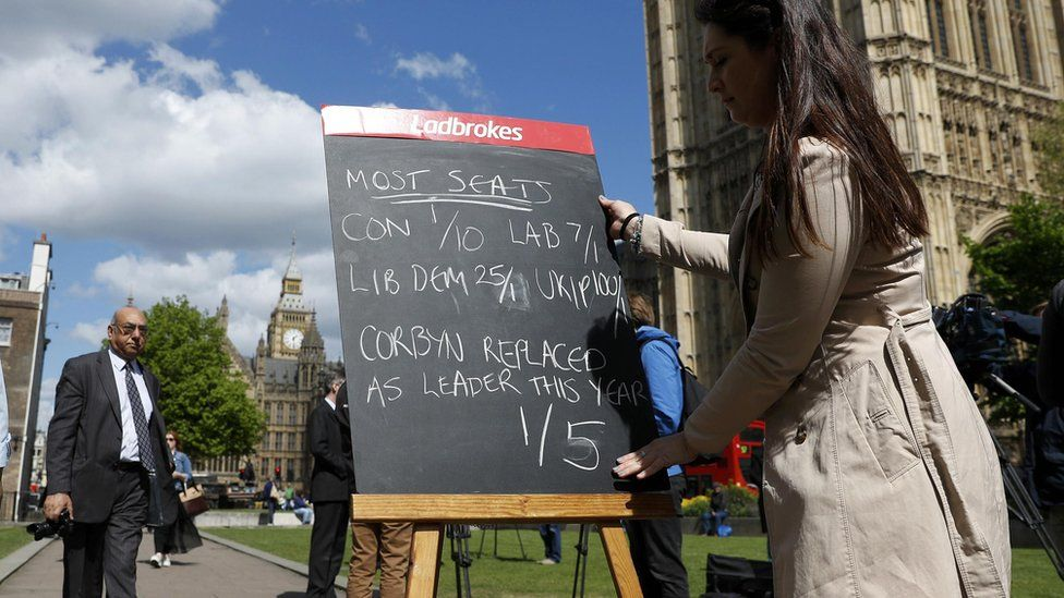 a bookies chalk board marked with odds, besides the Houses of Parliament