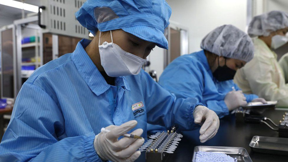 South Korean factory production line for Covid-19 testing kits