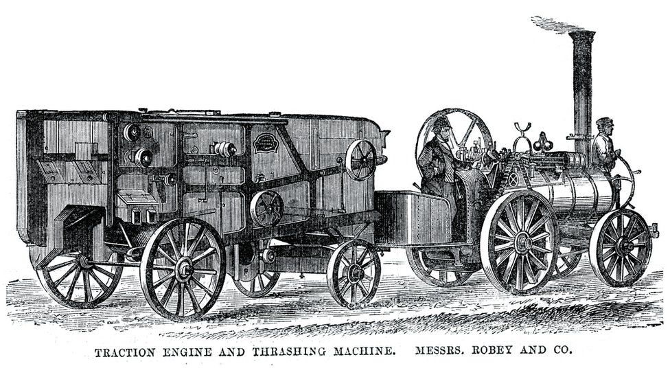 Old traction engine and thrashing machine