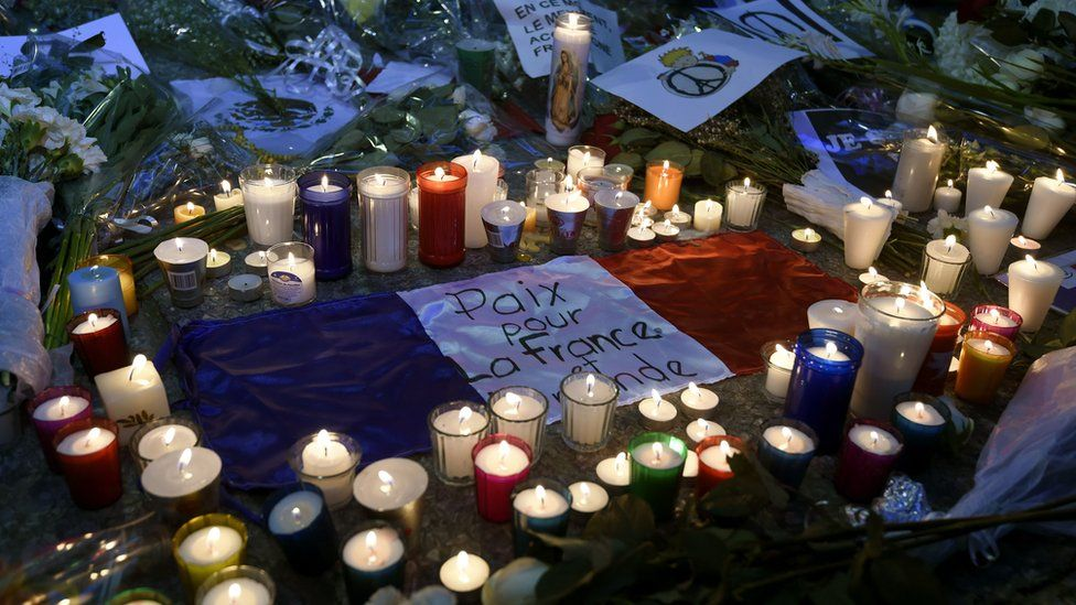Candles and flowers outside the French embassy in Mexico City. 16 November 2015