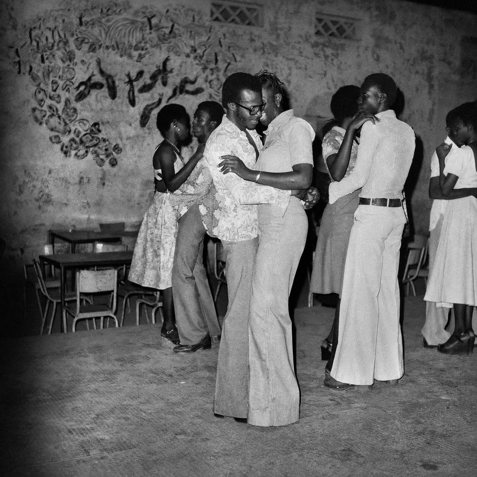 A group dancing