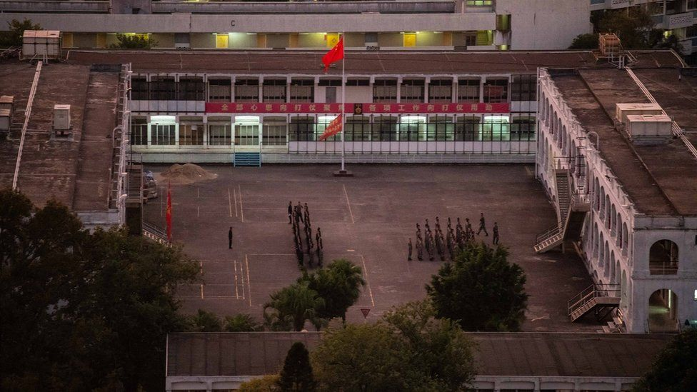 Chinese soldiers conducting drills in the PLA barracks in Hong Kong