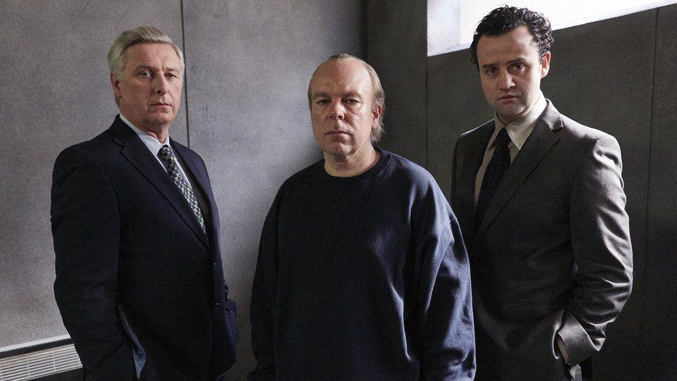 Stuart Graham, Steve Pemberton and Daniel Mays in The Interrogation