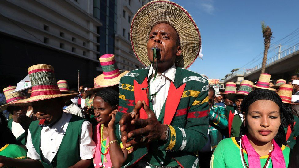 An Ethiopian man from the Alaba region dances during the Irreecha celebration
