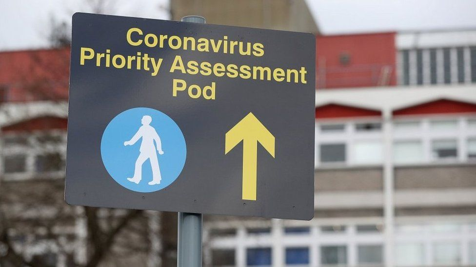A sign outside Watford General Hospital