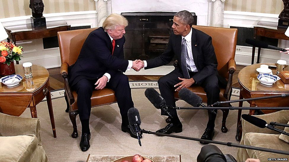 Trump shaking hands with Obama