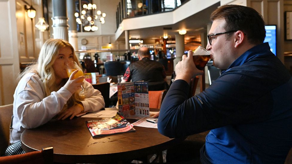 Drinkers at Northwestern pub in Liverpool on 17 May 2021