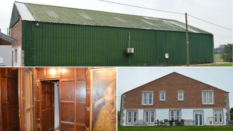 Shedley Manor (top), secret door (bottom left) and exterior