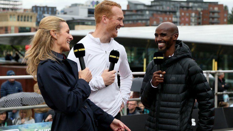Gabby Logan, Greg Rutherford and Mo Farah chat on BBC TV