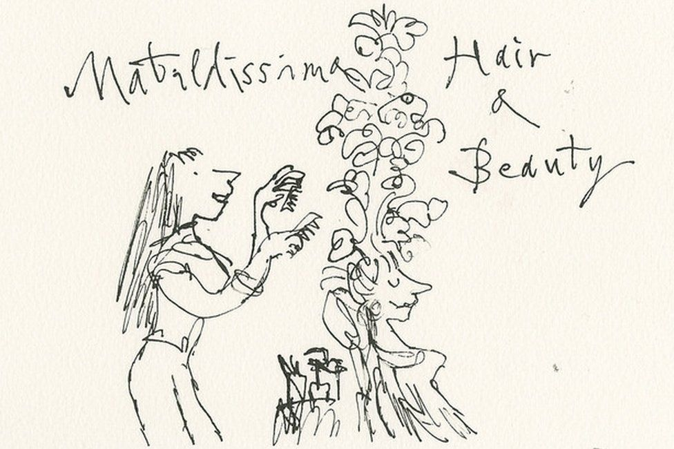Matilda, in her 30s, working as a hairdresser by Sir Quentin Blake