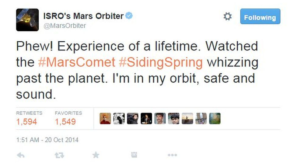 Phew! Experience of a lifetime. Watched the #MarsComet #SidingSpring whizzing past the planet. I'm in my orbit, safe and sound.