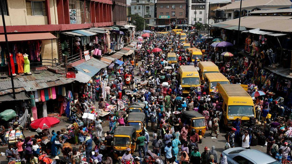 Crowded street in Lagos