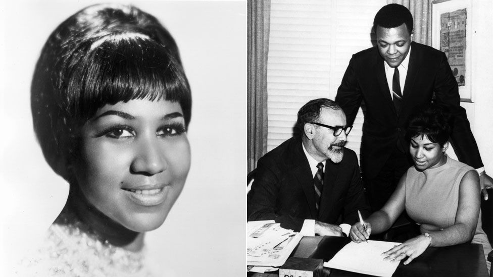 Aretha Franklin in portrait and with Jerry Wexler and her manager