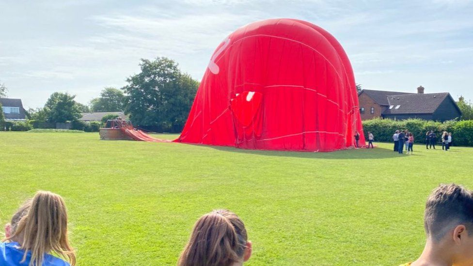 Balloon on playing field