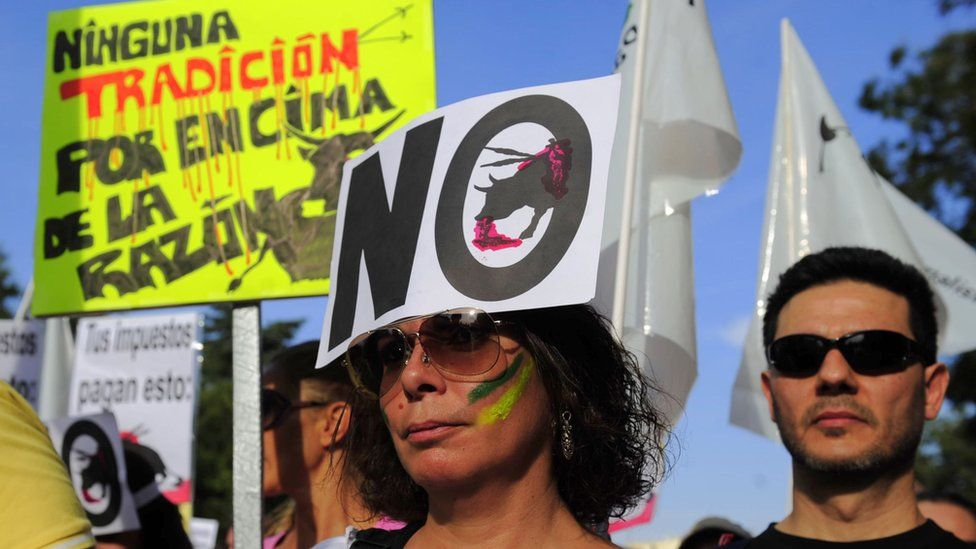 """A woman with a placard meaning """"No bullfight"""" on her forehead take part with thousands of people in a demonstration against bullfighting in Spain, in Madrid"""