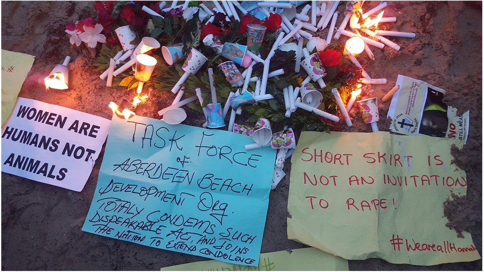 Wreaths laid at the spot where Hannah Bockarie body was found in Sierra Leonen capital, Freetown.