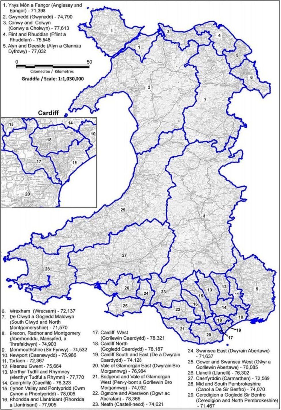 Map o gynigion diweddaraf y Comisiwn Ffiniau