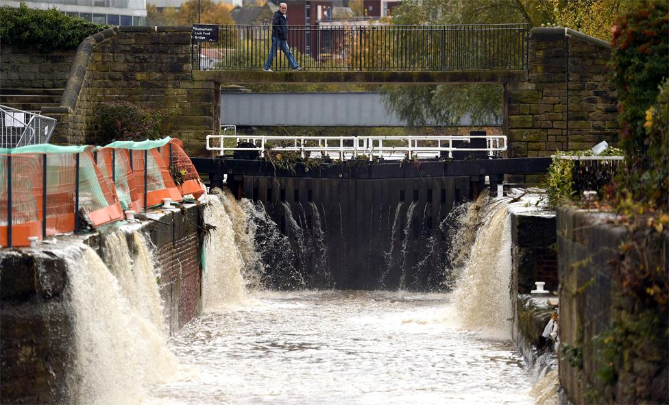 Uji i përmbytjes shkon jashtë në një kanal