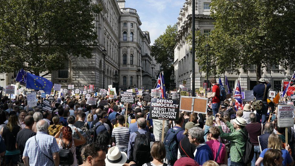 Demonstrators protest the suspension of Parliament in Whitehall, central London