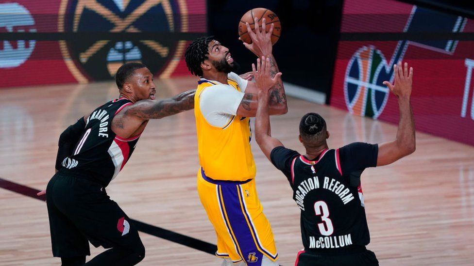 An NBA game between the LA Lakers and the Portland Trail Blazers