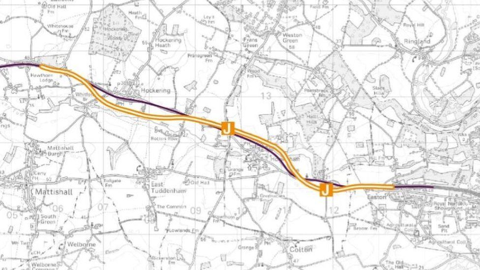Map of new route between North Tuddenham and Easton