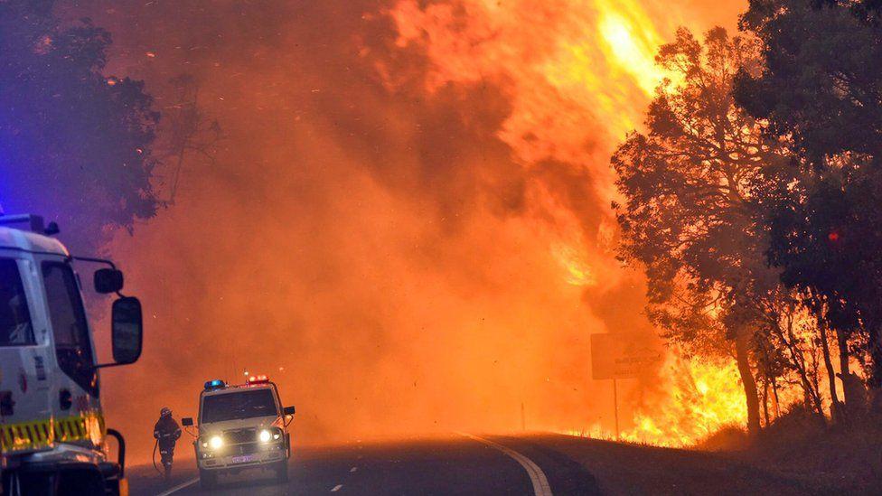 Handout photo shows the Waroona fire burning near Yarloop