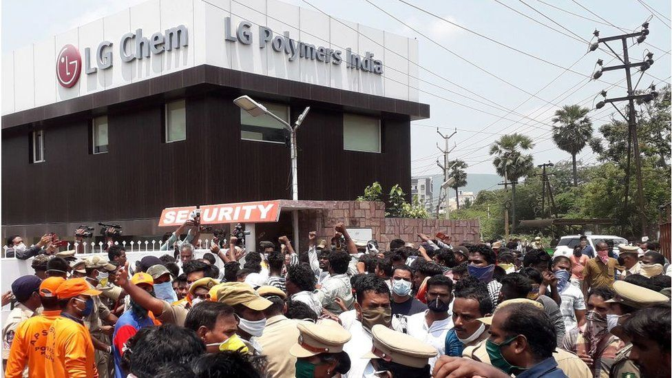 Residents protest in front of LG Polymers plant demanding justice to the gas leak victims, in Visakhapatnam