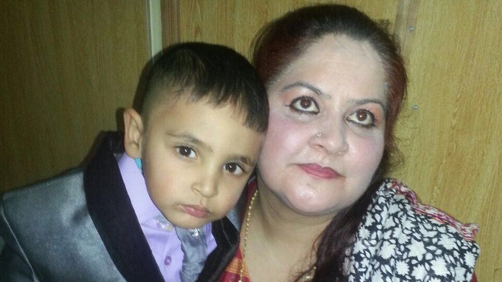 Iftikhar Ahmad with his mother