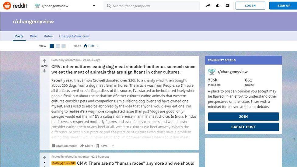 ChangeMyView screenshot on Reddit