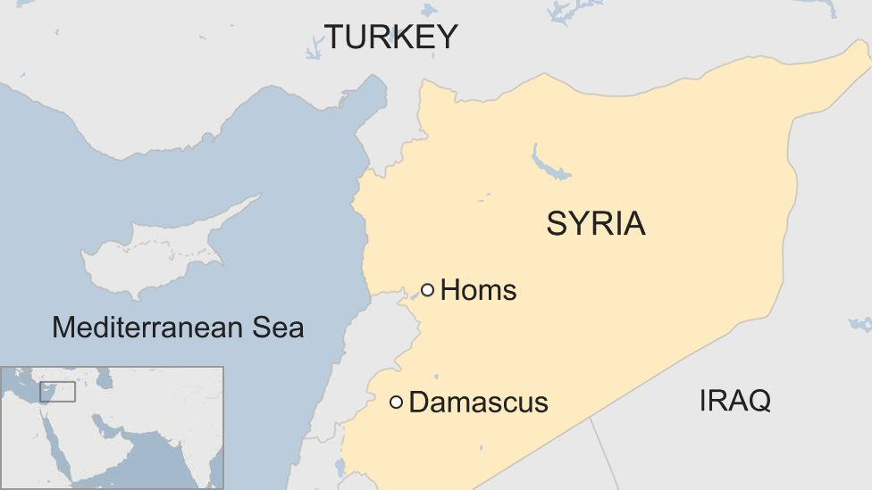 A map showing where Homs and Damascus are in Syria