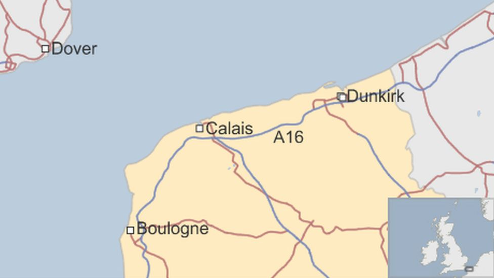 Map of Calais protest route