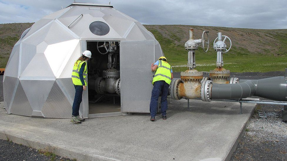 Scientists in the igloo-shaped injection site