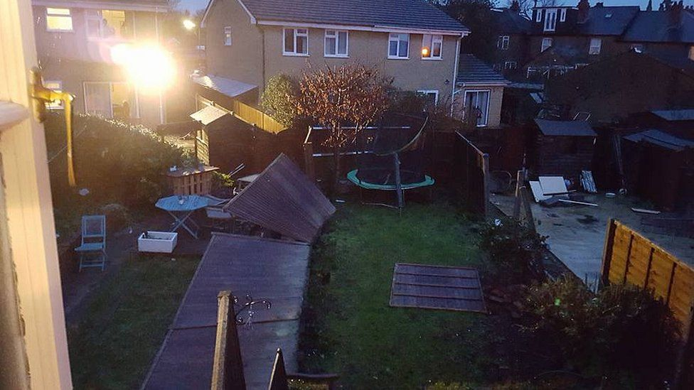 A garden in Maidenhead with fences blown over