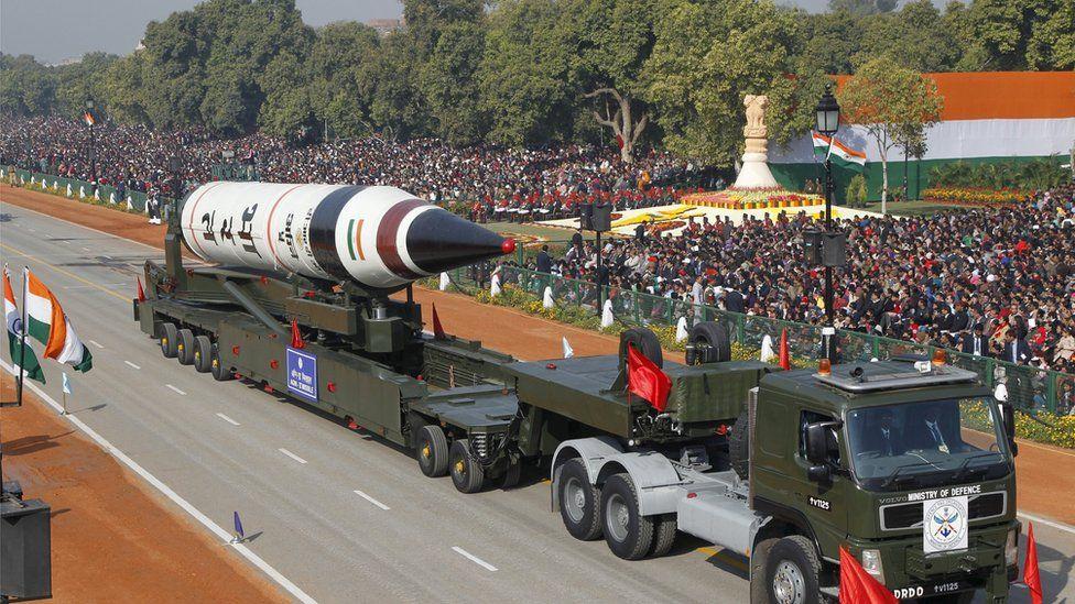 India's Agni-V missile can carry a nuclear warhead