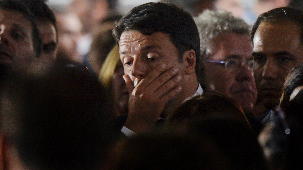Prime Minister Matteo Renzi during a funeral service for victims of the earthquake, in a tent complex in Amatrice, on August 30, 2016.