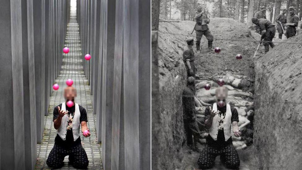 Man juggle balls at memorial site