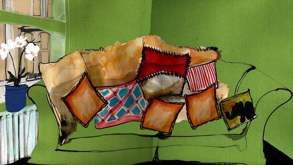 Illustration of cushions on a green sofa