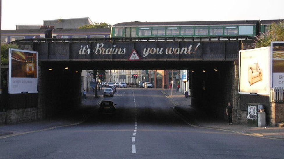 The 'Brains Bridge' in Grangetown