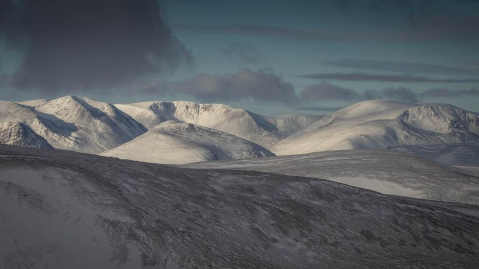 The view to Braeriach, the third highest mountain in Britain