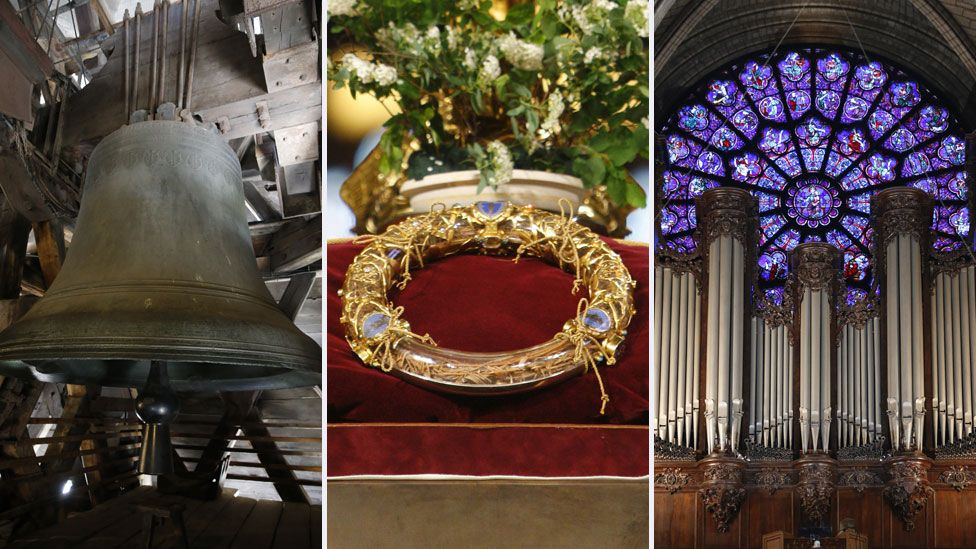 A bell, the Crown of Thorns and the organ from Notre Dame cathedral