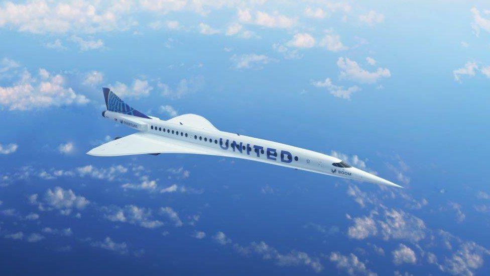 conceptual image of a Boom Supersonic aeroplane