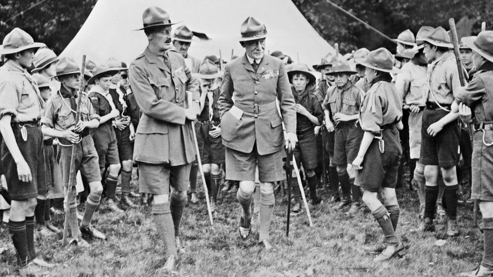 Robert Baden-Powell with Scouts