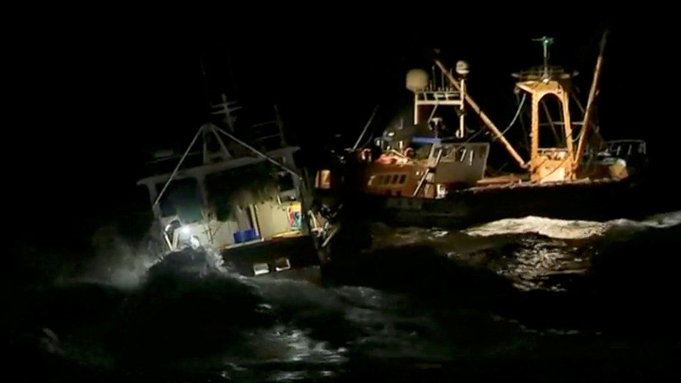 In this still image taken from a video, French and British fishing boats collide during a scrap in the Channel over scallop fishing rights, August 28, 2018