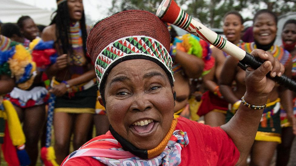 A woman with traditional Zulu headgear in Nongoma, South Africa - 17 March 2021