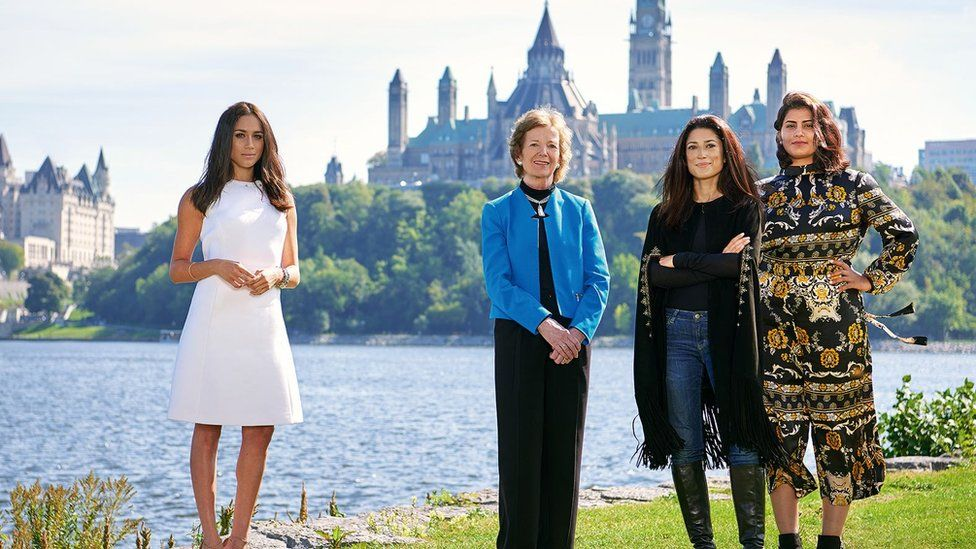 Loujain al-Hathloul pictured with Fatima Bhutto, Mary Robinson and Meghan Markle at One Young World Summit in October 2016