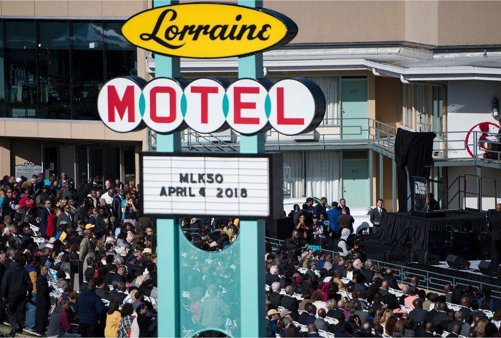 The scene outside the Lorraine Motel last week