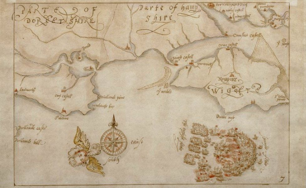 Hand-drawn map of the Spanish Armada and the south coast of England