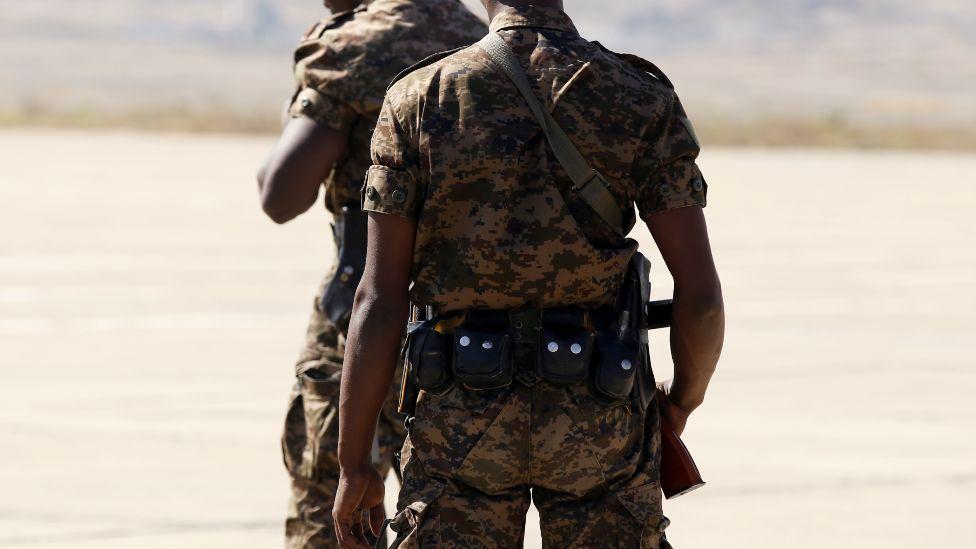 Ethiopian soldiers in Tigray, Ethiopia
