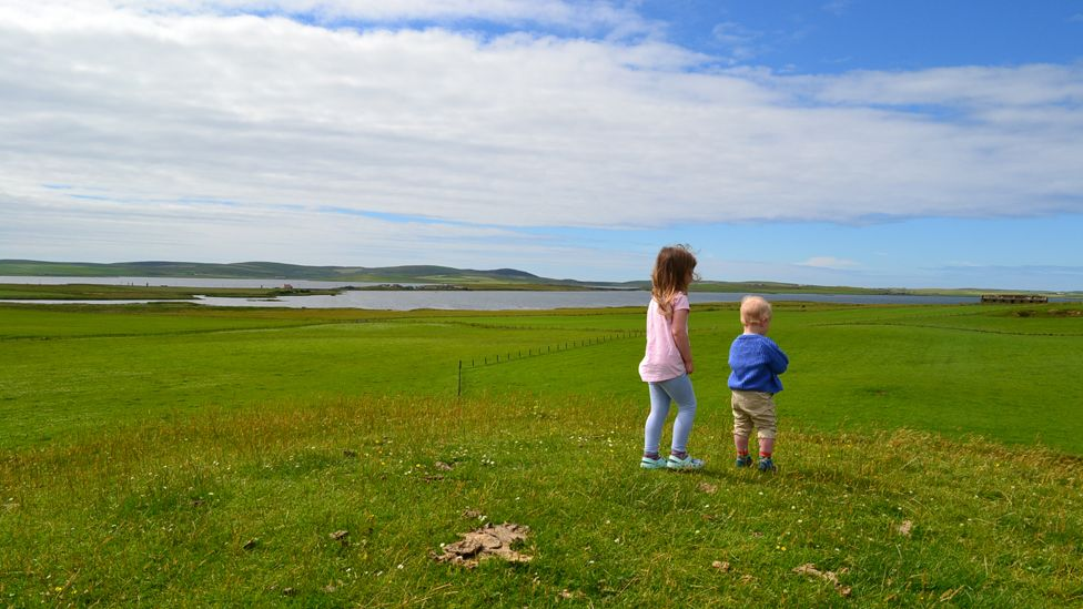 Ailsa and Donald on Maeshowe